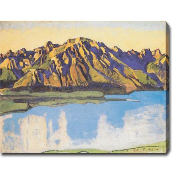 Ferdinand Hodler 'Der Grammont in der Morgensonne' Oil on Canvas Art