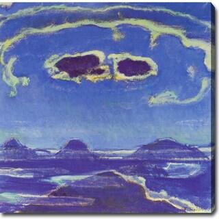 Ferdinand Hodler 'Eiger, Monch and Jungfrau in Moonlight' Oil on Canvas Art