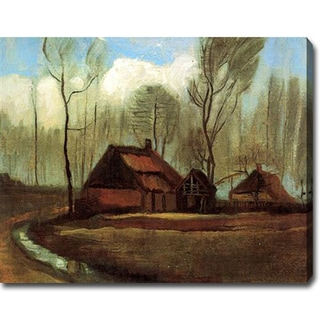 Vincent Van Gogh 'Farmhouses Among Trees' Oil on Canvas Art