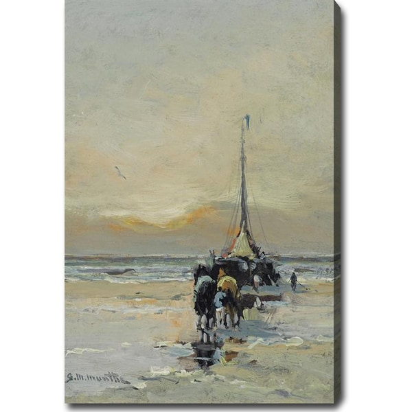 Gerard Munthe 'Bringing in the Catch' Oil on Canvas Art