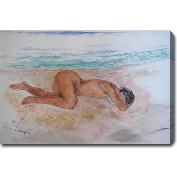 Henri Lebasque 'Nu allongu sur la plage' Oil on Canvas Art