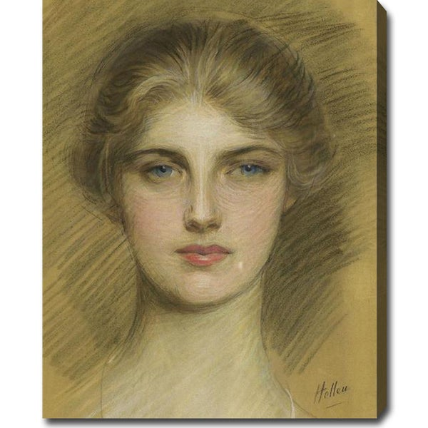 Paul Cesar Helleu 'Portrait of a Young Woman' Large Oil on Canvas Art