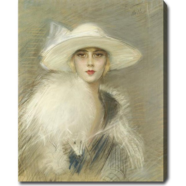 Paul Cesar Helleu 'Portrait of a Young Woman' Oil on Canvas Art