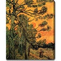 Vincent van Gogh 'Pine Trees against a Red Sky with Setting Sun' Oil on Canvas Art