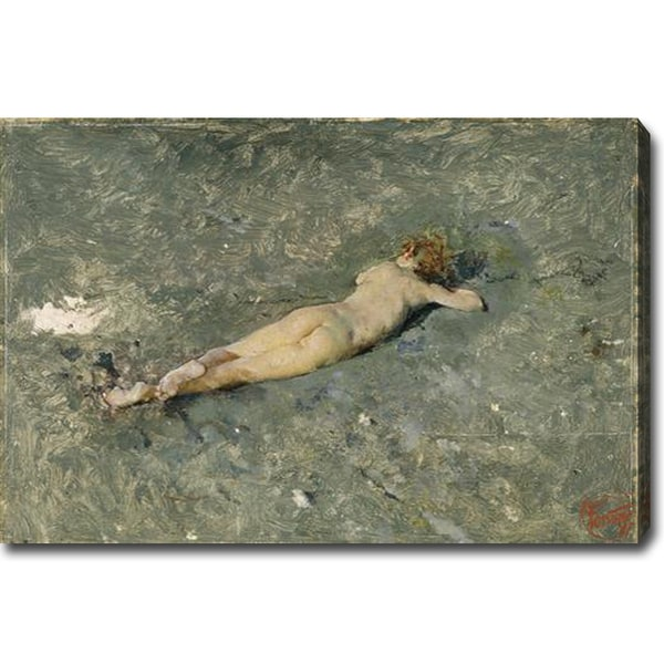 Mariano Fortuny Marsal 'A Nude on the Beach' Oil on Canvas Art 11177628