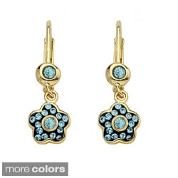 Molly Glitz 14k Gold Overlay Children's Crystal Flower Earrings