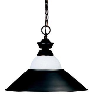 Old Bronze Metal/ White Mottled Glass Pendant Light Fixture