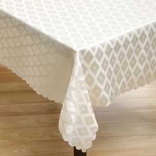 2-tone Off White/ Pearl Diamond Damas Rectangular Tablecloth