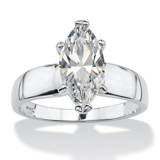 PalmBeach 2.11 Carat Marquise-Cut Cubic Zirconia Sterling Silver Solitaire Ring Classic CZ