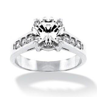 Palmbeach CZ Silvertone Round Cubic Zirconia Ring