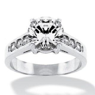 PalmBeach 2.20 TCW Round Cubic Zirconia Silvertone Engagement Anniversary Ring Classic CZ