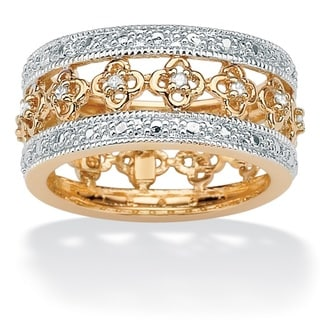 Isabella Collection Gold over Silver 1/8ct TDW Diamond Floral Band (I-J, I2-I3)