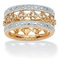 PalmBeach Gold over Silver 1/8ct TDW Diamond Floral Band (I-J, I2-I3)