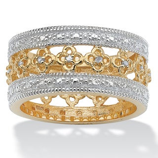 PalmBeach 1/8 TCW Round Diamond 18k Gold over Sterling Silver Filigree Flower Motif Eternity Band