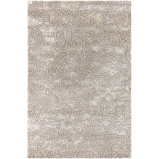 Hand-knotted Ban Grey Semi-worsted New Zealand Wool Contemporary Abstract Rug (8'x11')