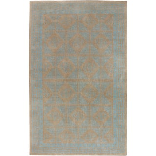Hand-knotted Baeddan Blue New Zealand Wool Traditional Bordered Rug (2'x3')