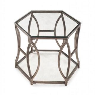 Nevelson Hexagonal Glass End Table