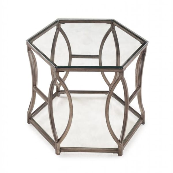Nevelson Hexagonal Glass End Table