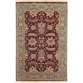 Hand-knotted Cael Burgundy Semi-worsted New Zealand Wool Traditional Oriental Rug (2'x3')