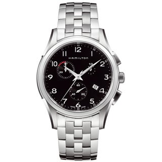 Hamilton Men's 'Jazzmaster Thinline Chrono' Black Dial Watch