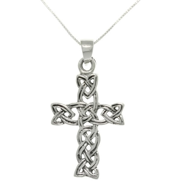 CGC Sterling Silver Celtic Braid Cross Necklace