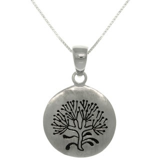CGC Sterling Silver Rune Stone 'Tree of Life' Pendant on 18-inch Box Chain Necklace