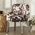 Bridgeport Ergonomic Contour Soft White Faux Leather Swivel Modern Metal Legs Accent Chair