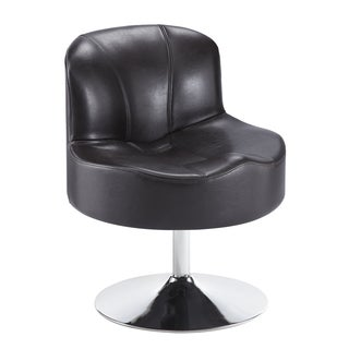Bridgeport Ergonomic Contour Espresso Faux Leather Swivel Modern Pedestal Accent Chair
