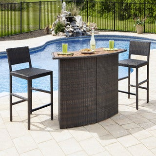 Riviera Outdoor Woven Bar and Two Stools