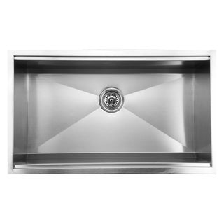 Ukinox DSL813 Zero Radius Single Basin Stainless Steel Undermount Kitchen Sink