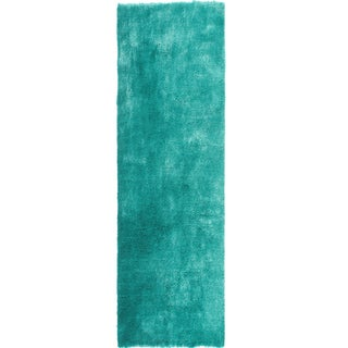 'Posh' Hand-tufted Teal Plush Shag Rug (2'3 x 8' Runner)