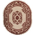 Hand-knotted Alaric Burgundy New Zealand Wool Traditional Oval Oriental Rug (3' x 5')