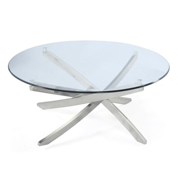 Zila Round Glass Cocktail Table Overstock Shopping Great Deals On Magnussen Home Furnishings