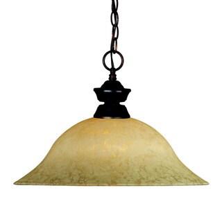 Olde Bronze Pendant with Golden Mottle Glass