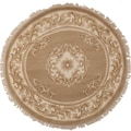 Hand-knotted Bernt Gold Wool Traditional Oriental Rug (5' Round)