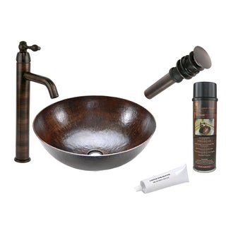 Premier Copper Products Round Single-Handle Hammered Copper Surface Vessel Faucet Package