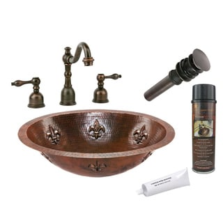 Premier Copper Products Widespread Hammered Copper Fleur de Lis Faucet Package