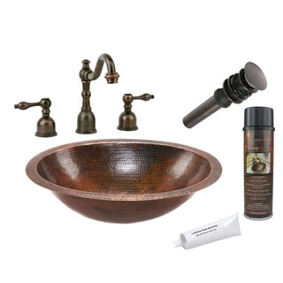 Premier Copper Products Widespread Hammered Copper Surface Faucet Package