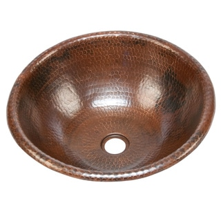 Premier Copper Products Handmade 16-inch Round Bathroom Copper Sink with Curved Decorative Rim