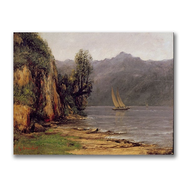 Gustave Courbet 'Vue Du Lac Leman' Canvas Art