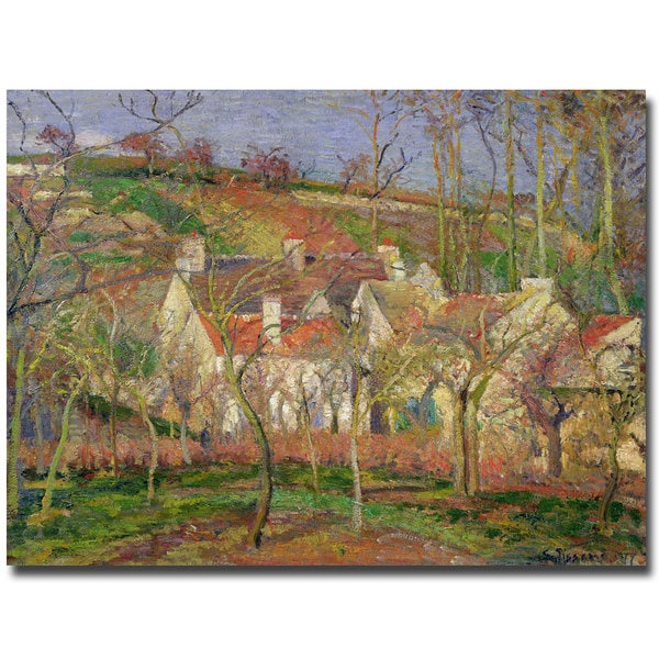 Camille Pissarro 'The Red Roofs 1877' Canvas Art
