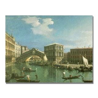 Canaletto 'The Rialto Bridge Venice' Canvas Art