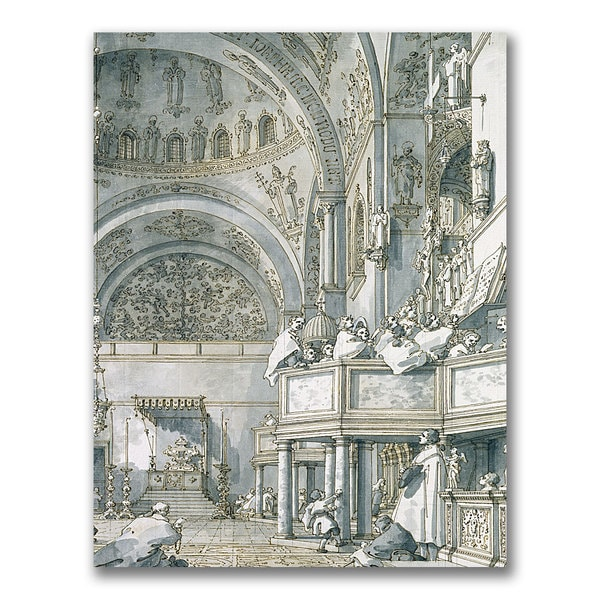 Canaletto 'The Choir Singing at St. Mark's' Canvas Art