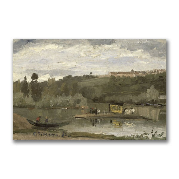Camille Pissarro 'Ferry at Verenne-Saint Hilaire' Canvas Art