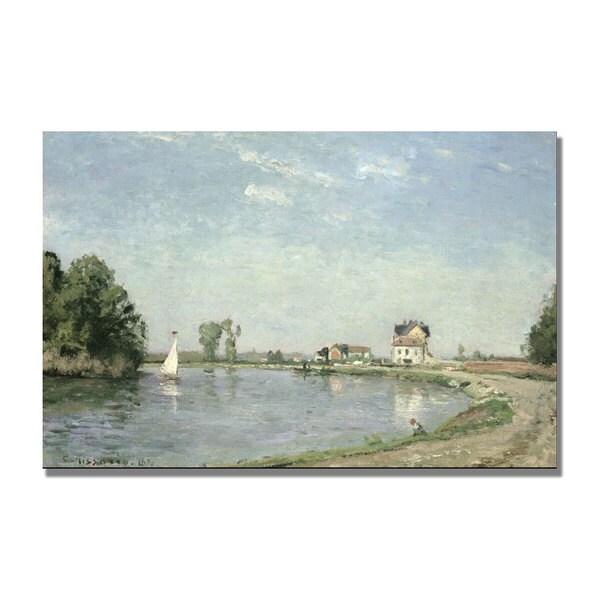 Camille Pissarro 'At the River's Edge 1871' Canvas Art