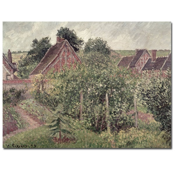 Camille Pissarro 'Landscape with Cottage Roofs 1889' Canvas Art