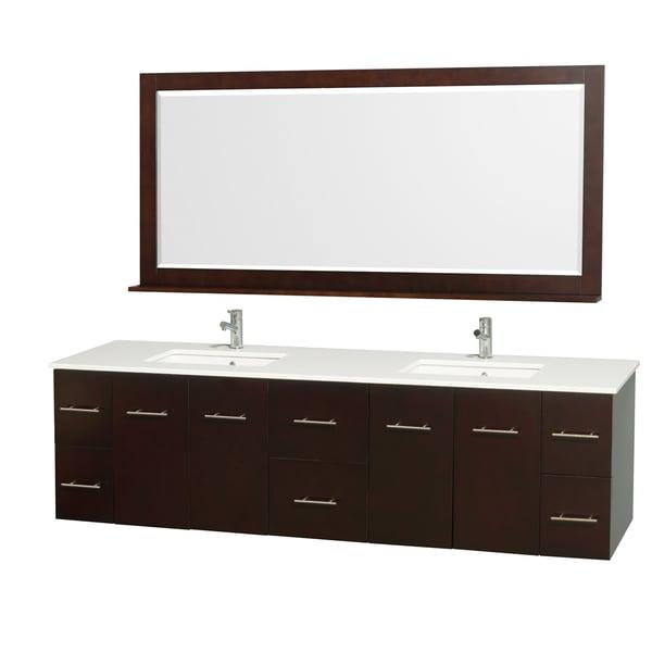 Wyndham Collection Espresso 80 Inch Double Bathroom Vanity Set 15394479
