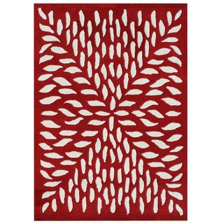 Alliyah Rugs Handmade Red New Zealand Blend Wool Rug (8x10)