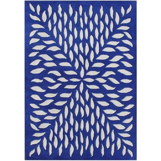 Handmade Blue Blended Wool Rug (8' x 10')