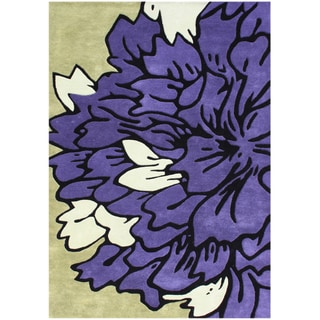 Handmade Light Purple Blended Wool Rug (5' x 8')